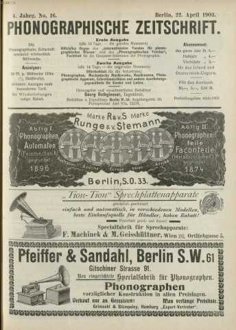 No. 16.Berlin, 22. April 1903. ... da