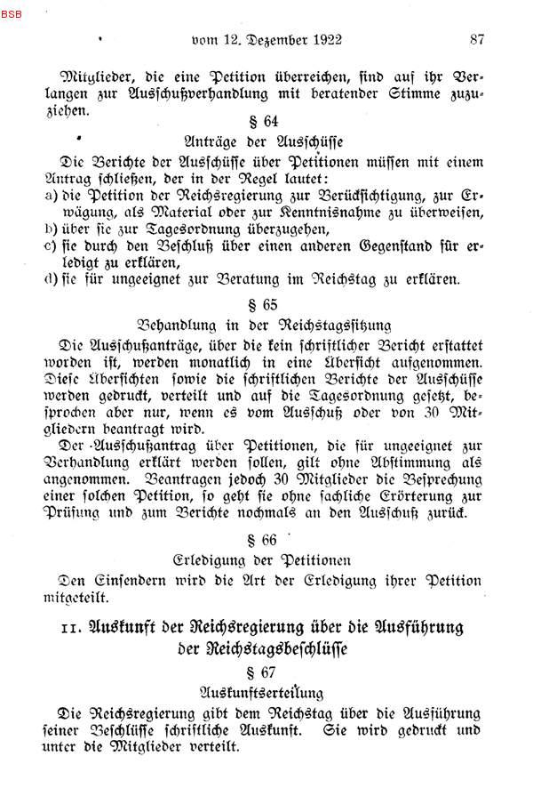 11. Auskunft der Reichsregierung über die Ausführung der ...