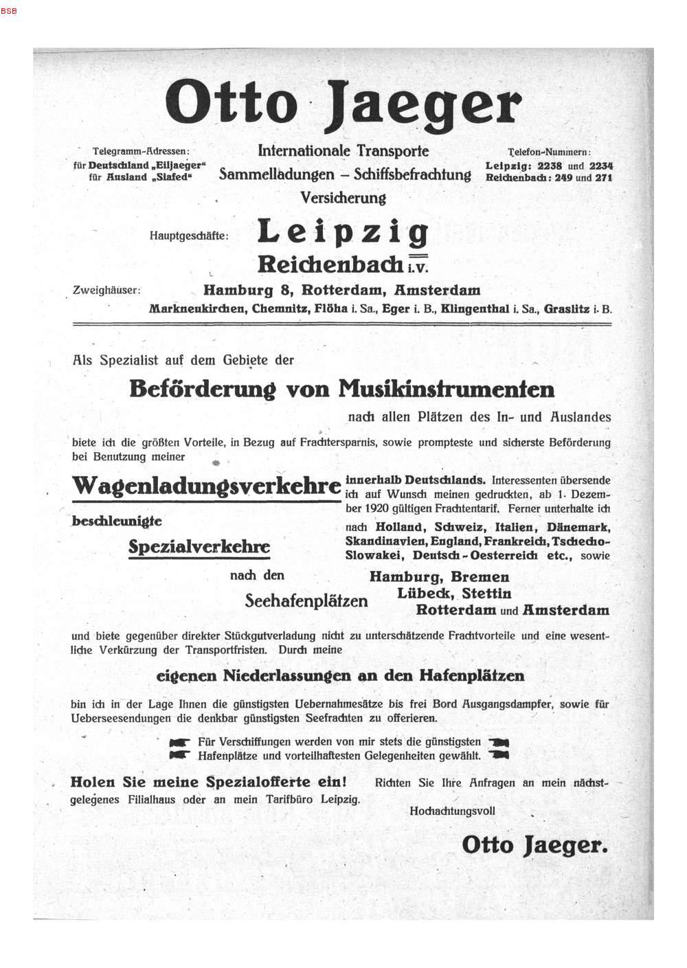 S 372a Werbe Beilage Otto Jaeger Internationale Transporte