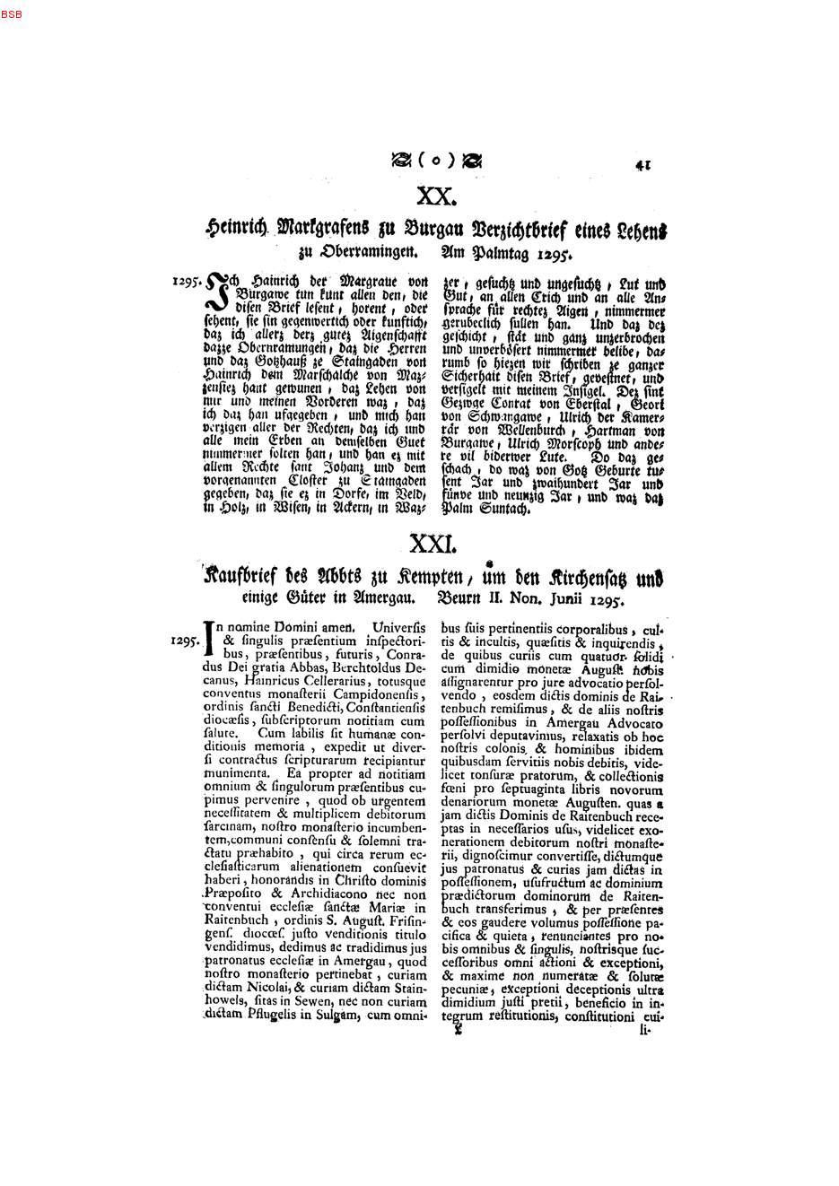 XX:Heinrich Markgrafens zu Burgau Verzichtbrief eines Lehens zu ...