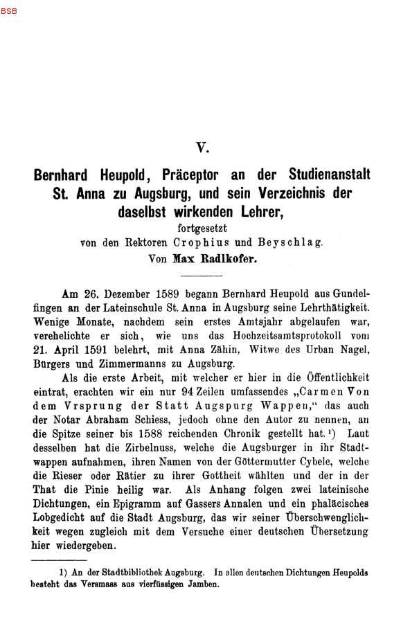Max RADLKOFER, Bernhard Heupold, Präceptor an der Studienanstalt St ...