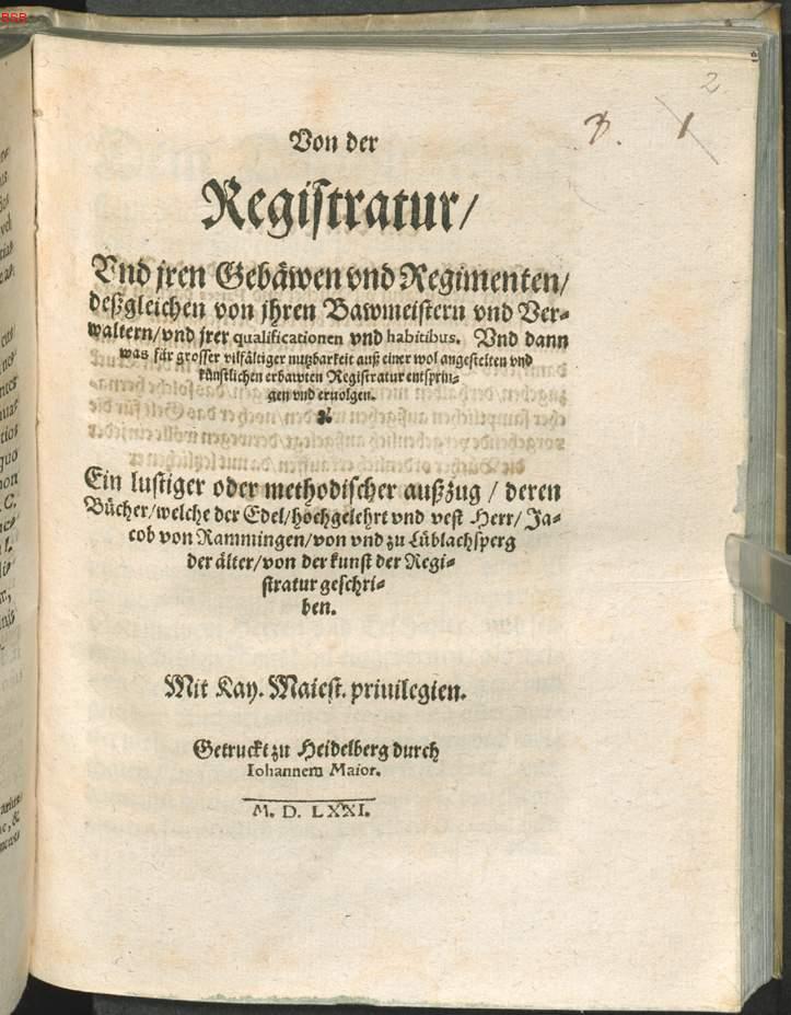 Ramingen, Jacob von: Von der Registratur, Vnd Jren Gebäwen vnd ...