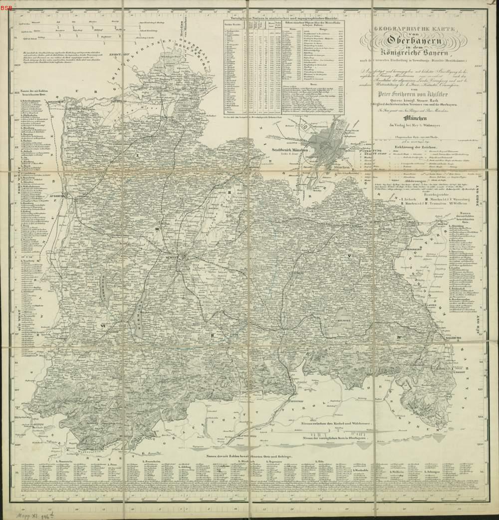 Karte Oberbayern.Geographische Karte Von Oberbayern In Dem Königreiche Bayern 1872