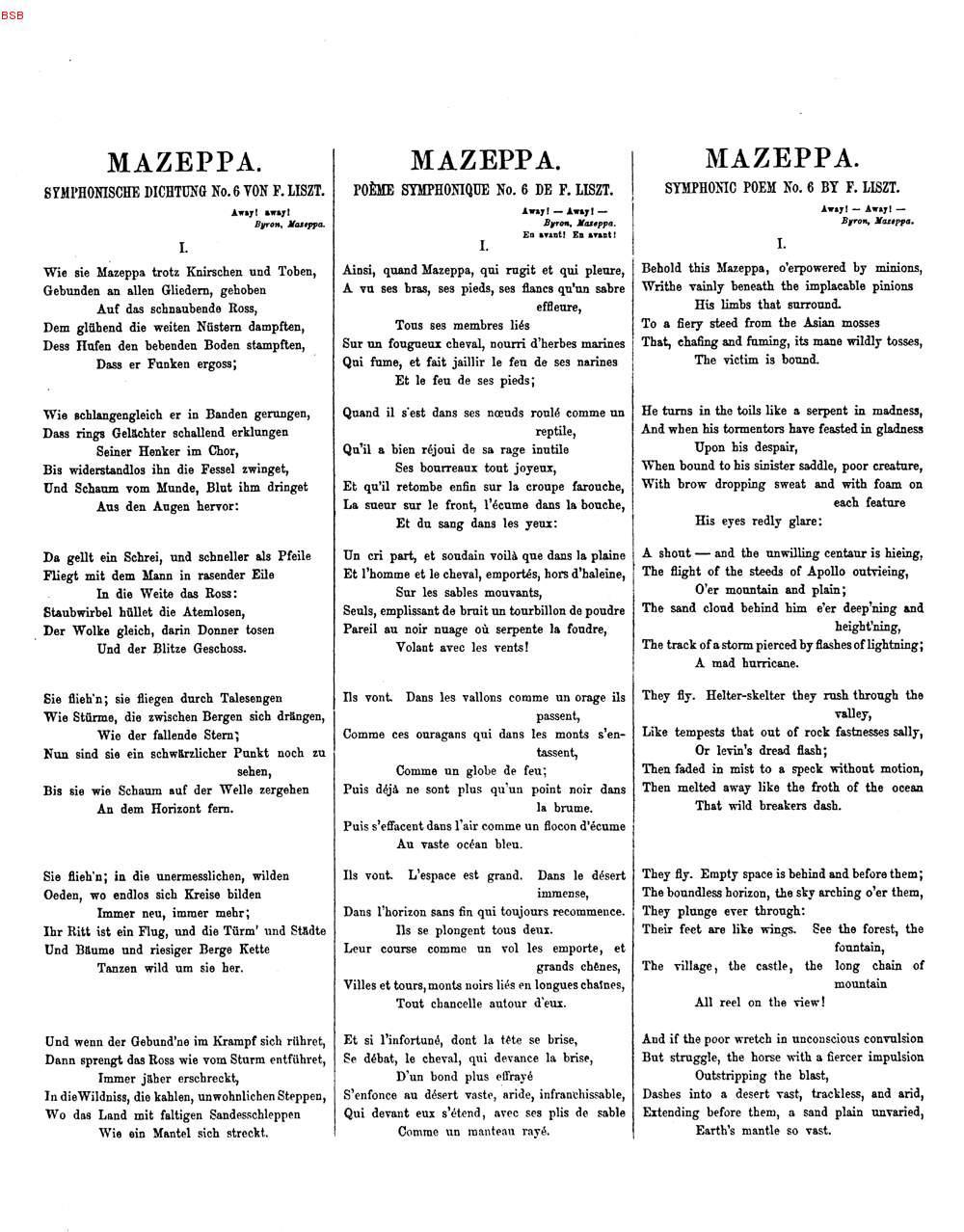 Mazeppagedicht Von Victor Hugo 69 De Liszt Franz