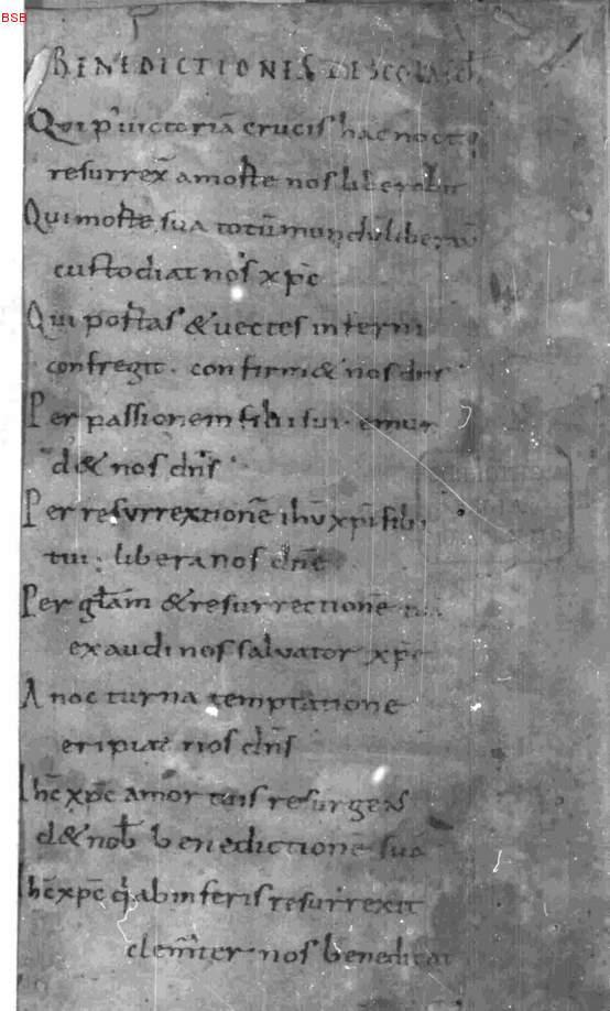 Textbeginn: Benedictiones epsicopales (Nachtrag 16  Jh
