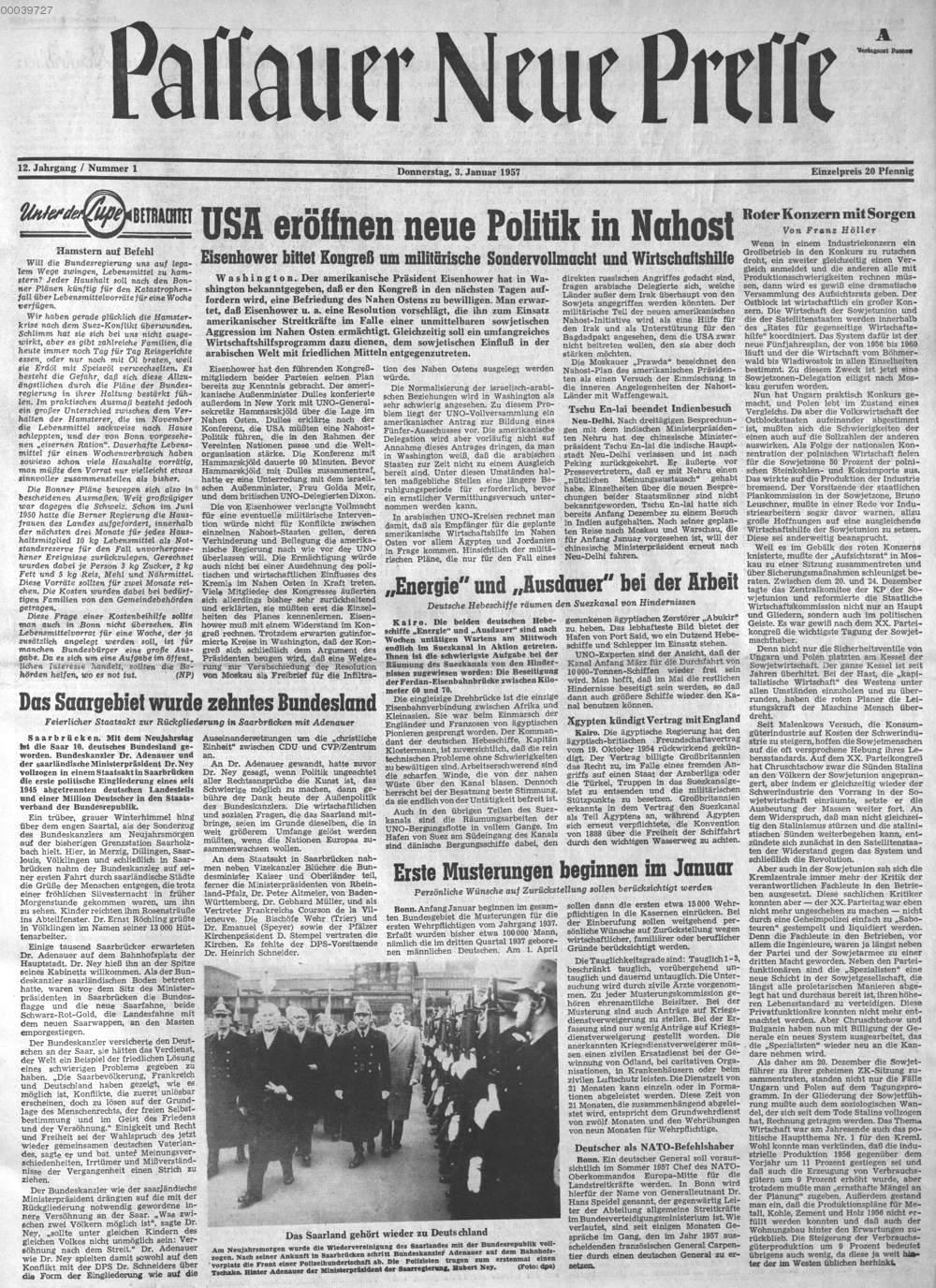 Nr. 1:03.01.1957 , aus: Passauer neue Presse ( 1957 ...