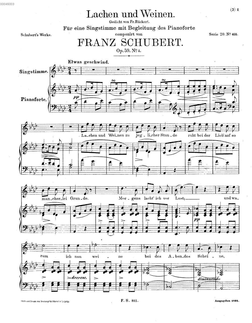 Fs 812lachen Und Weinen Gedicht Von Fr Rückert Op 59