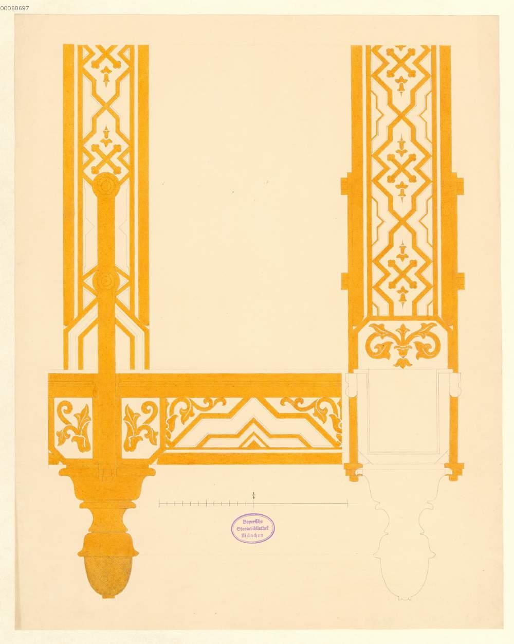 Dachstuhl: Ornament-Detail mit Zapfen (21r) , de: Ziebland, Georg ...