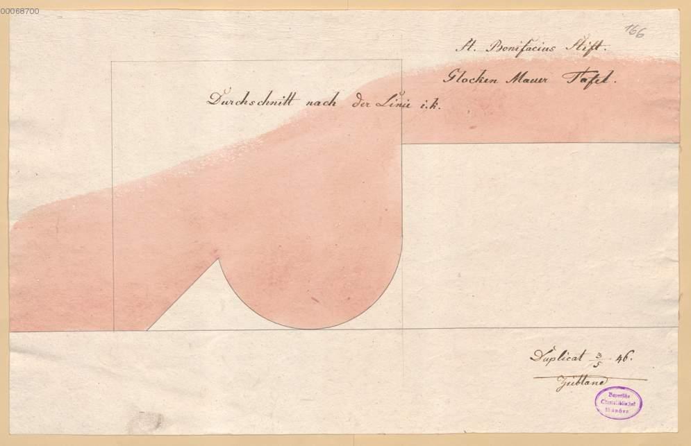 Glockenmauer, Schnitt durch Rahmen der Tafel (1.54r) , aus: Ziebland ...