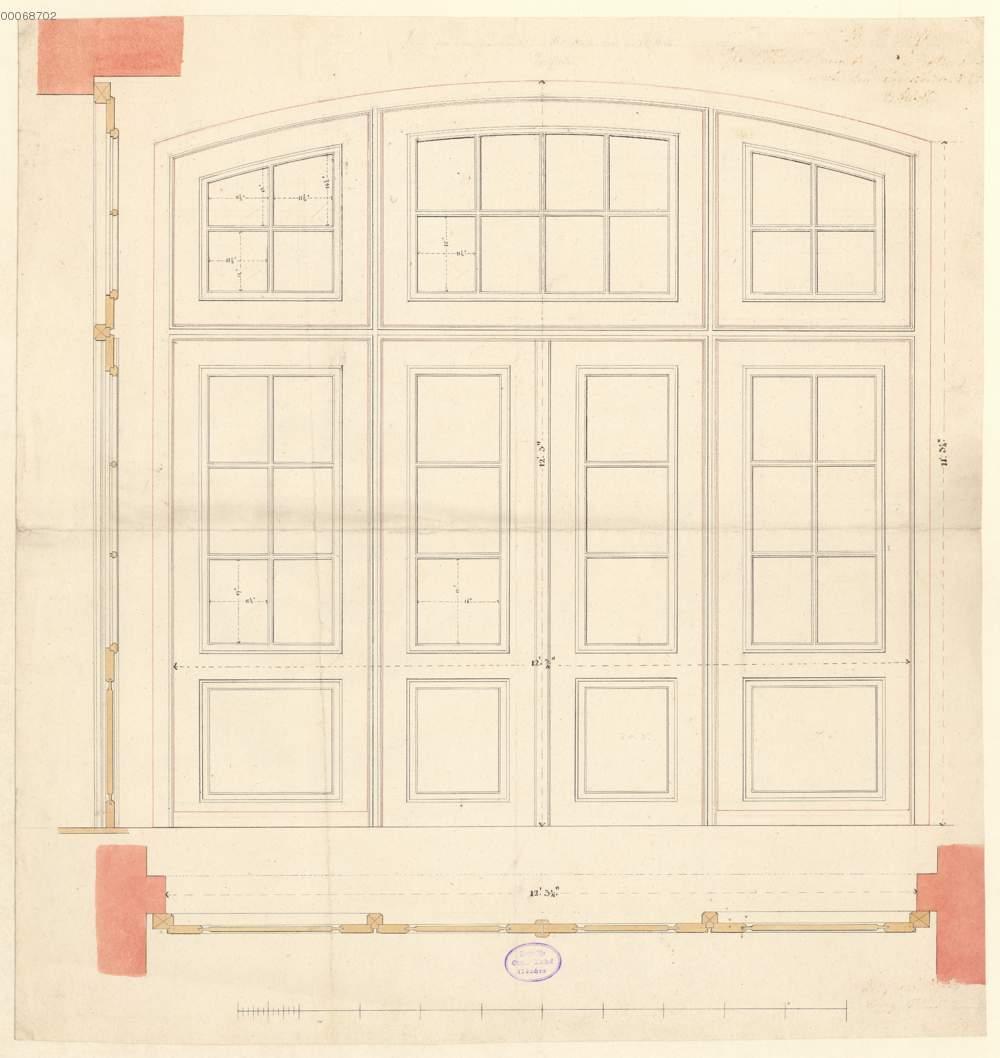 Vierflügelige Tür mit Oberlicht: Ansicht, Grundriss und ...