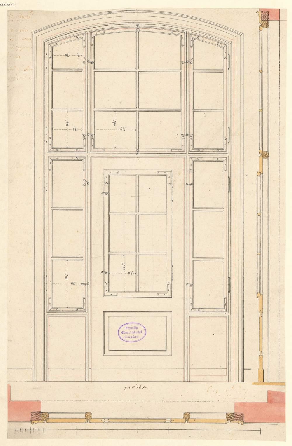 Tür mit Oberlicht: Ansicht, Grundriss und Schnitt (4.37r ...