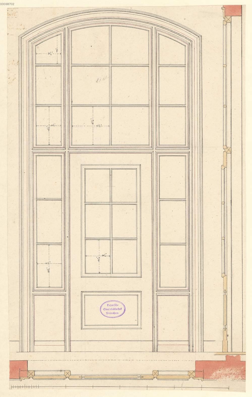Tür mit Oberlicht: Ansicht, Grundriss und Schnitt (4.38r ...