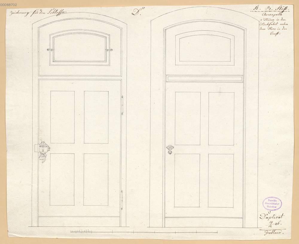 Durchfahrt, Zwei Türen mit Oberlicht neben dem Tor zur Gruft (6.19r ...