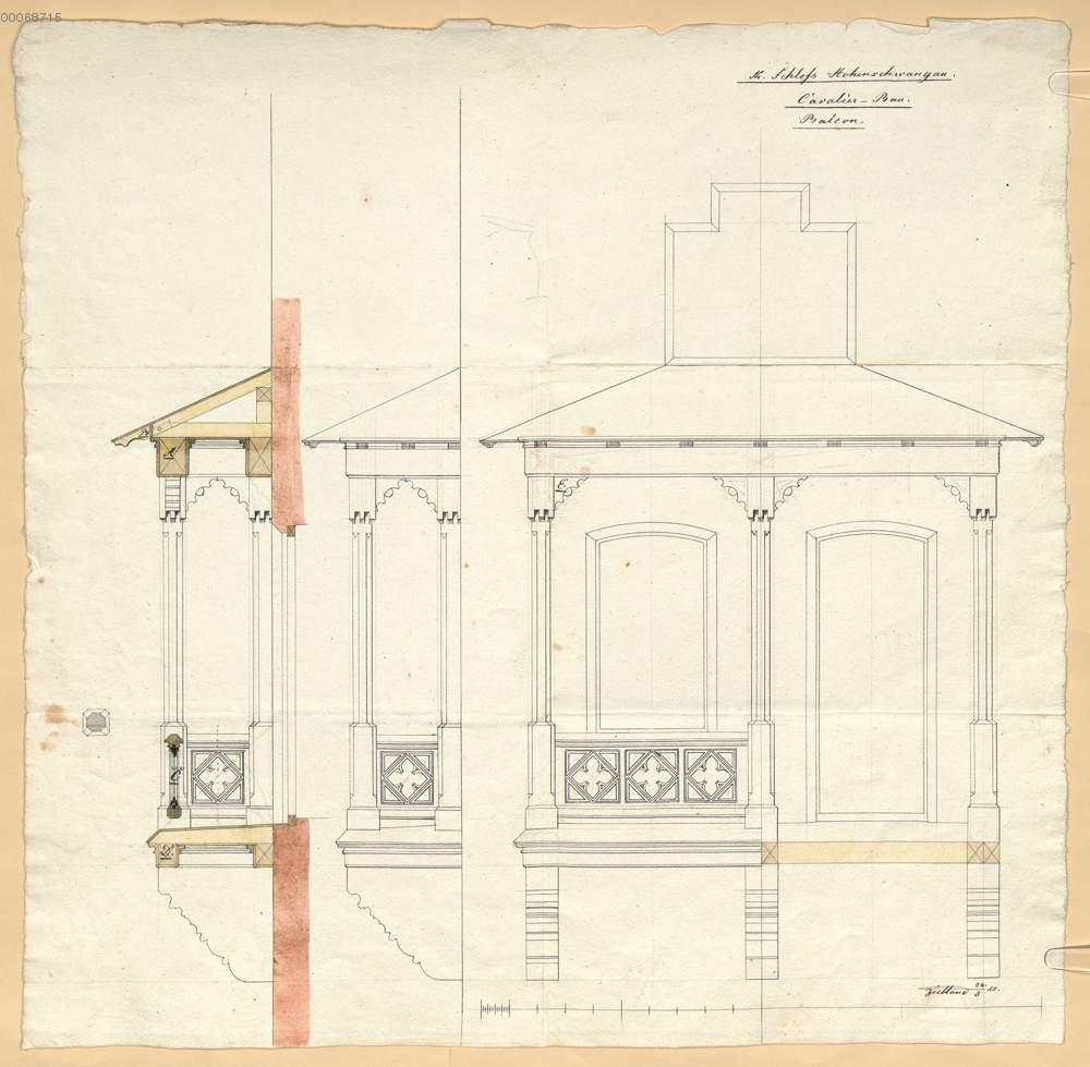 Kavalierbau Balkon In Vorder Und Seitenansicht Mit Schnitt 118r