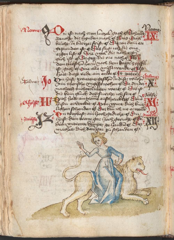 Federzeichnung Syhbs Auf Löwen Reitend De Losb
