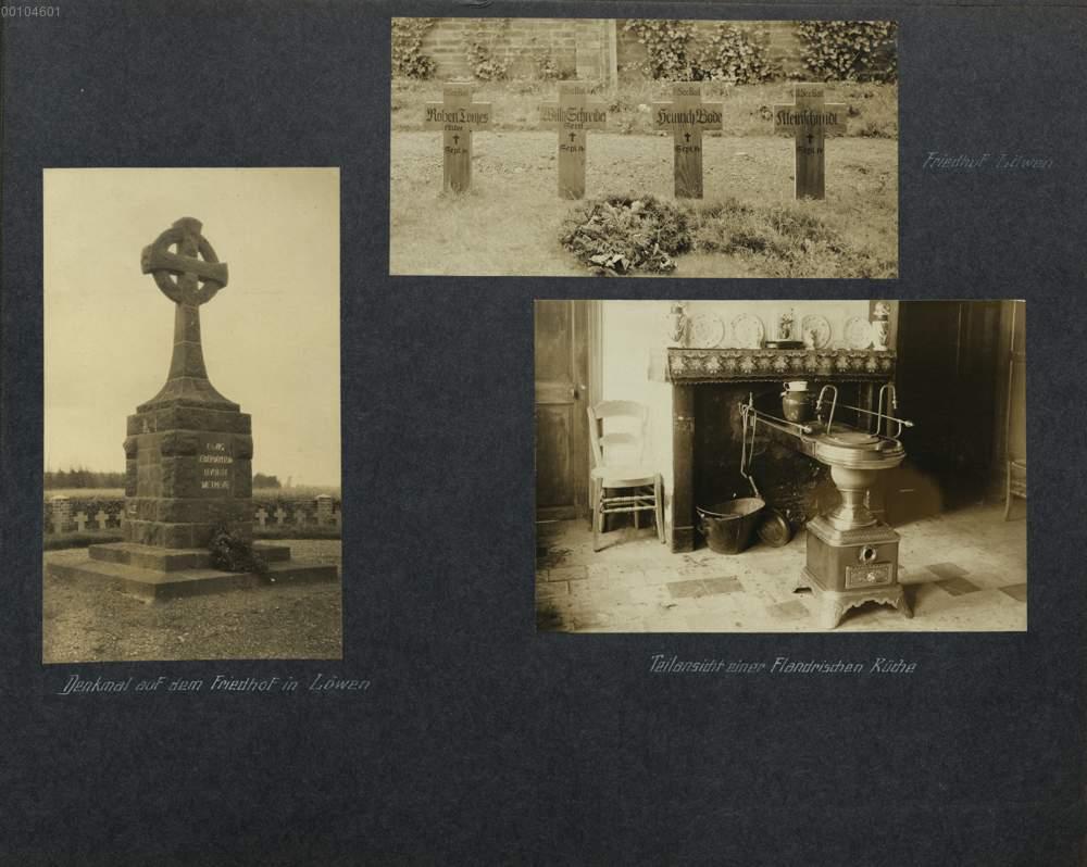 Bild 41-43: Friedhof Löwen; Denkmal auf dem Friedhof in Löwen ...